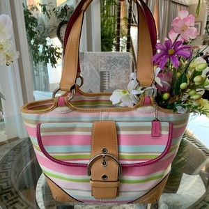 COACH PASTEL PINK STRIPE CANVAS & LEATHER TOTE!💗
